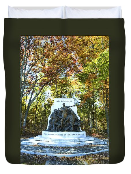 Alabama Monument At Gettysburg Duvet Cover by Paul W Faust -  Impressions of Light