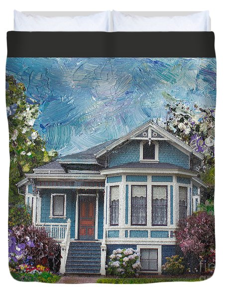 Alameda 1884 - Eastlake Cottage Duvet Cover by Linda Weinstock