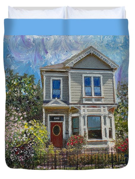 Alameda 1892 Queen Anne Duvet Cover by Linda Weinstock