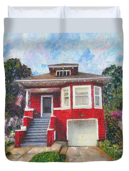 Colonial Revival High Basement Cottage 1907  Duvet Cover