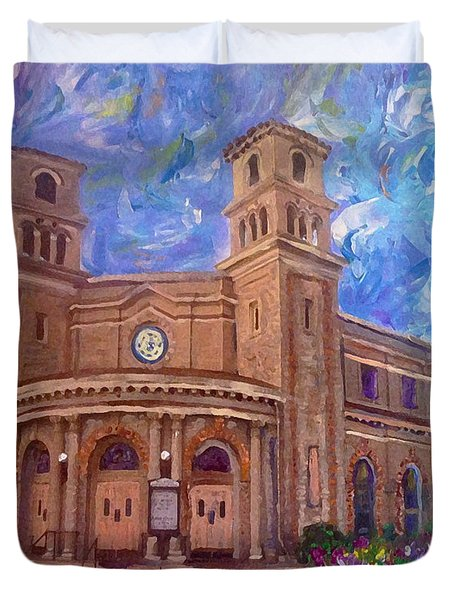 Alameda 1909  Twin Towers Church - Italian Renaissance  Duvet Cover by Linda Weinstock