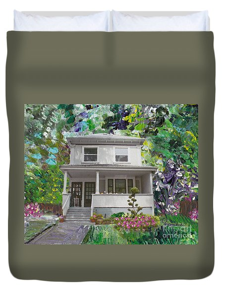 Duvet Cover featuring the painting Alameda 1933 Duplex - American Foursquare  by Linda Weinstock