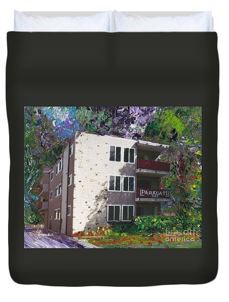 Duvet Cover featuring the painting Alameda 1964 Apartment Architecture   by Linda Weinstock