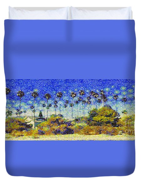 Alameda Famous Burbank Palm Trees Duvet Cover by Linda Weinstock