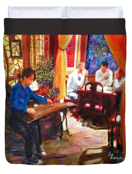 Duvet Cover featuring the painting Guzheng by Linda Weinstock