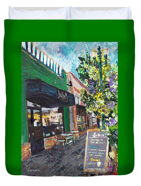 Alameda Julie's Coffee N Tea Garden Duvet Cover by Linda Weinstock