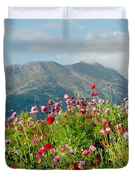 Alaska Flowers In September Duvet Cover