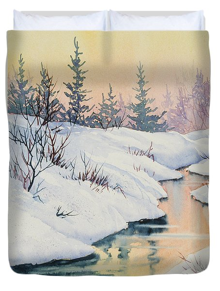 Duvet Cover featuring the painting Alaska Gold by Teresa Ascone