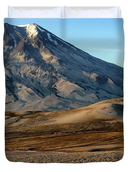 Duvet Cover featuring the photograph Alaska Landscape Scenic Mountains Snow Sky Clouds by Paul Fearn