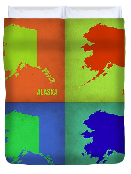 Alaska Pop Art Map 1 Duvet Cover by Naxart Studio