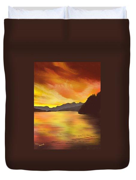 Alaska Sunset Duvet Cover by Terry Frederick