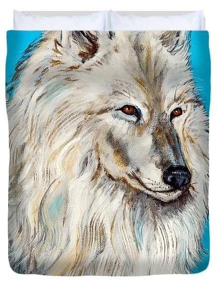 Duvet Cover featuring the painting Alaska White Wolf by Bob and Nadine Johnston