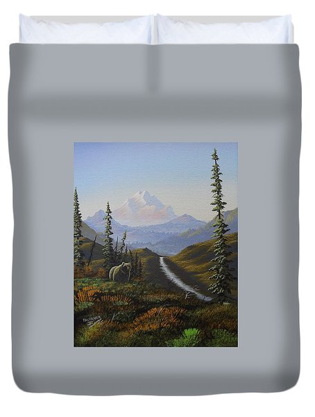 Duvet Cover featuring the painting Alaskan Brown Bear by Richard Faulkner