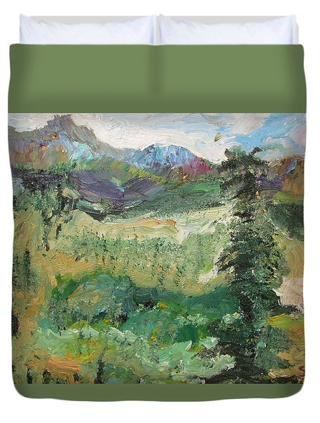 Duvet Cover featuring the painting Alaskan Landscape by Shea Holliman