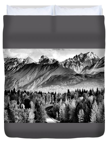 Duvet Cover featuring the photograph Alaskan Mountains by Katie Wing Vigil