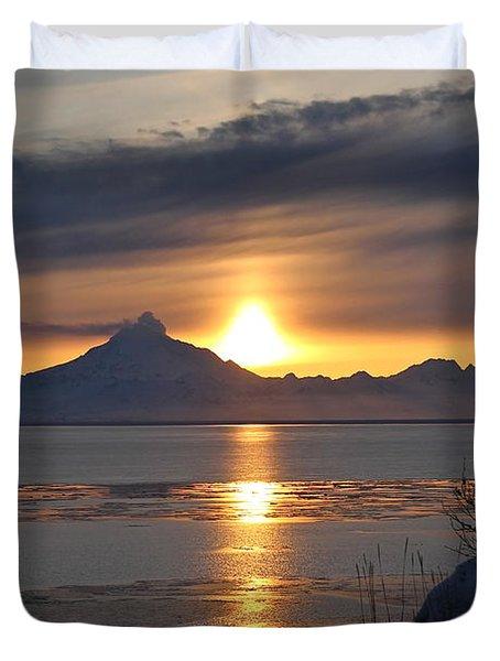 Alaskan Sunset Duvet Cover by Rick  Monyahan