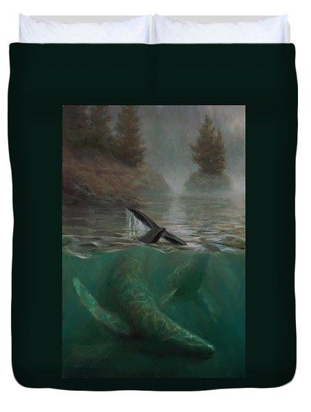 Humpback Whales - Underwater Marine - Coastal Alaska Scenery Duvet Cover