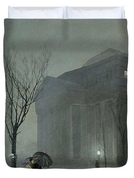 Albany In The Snow Duvet Cover by Walter Launt Palmer