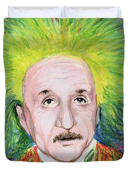 Duvet Cover featuring the drawing Albert Einstein by Yoshiko Mishina