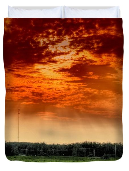 Duvet Cover featuring the photograph Alberta Canada Cattle Herd Hdr Sky Clouds Forest by Paul Fearn
