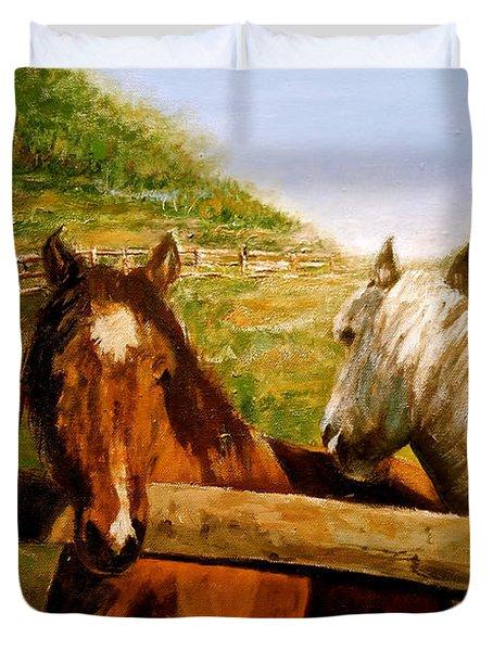 Alberta Horse Farm Duvet Cover by Sher Nasser
