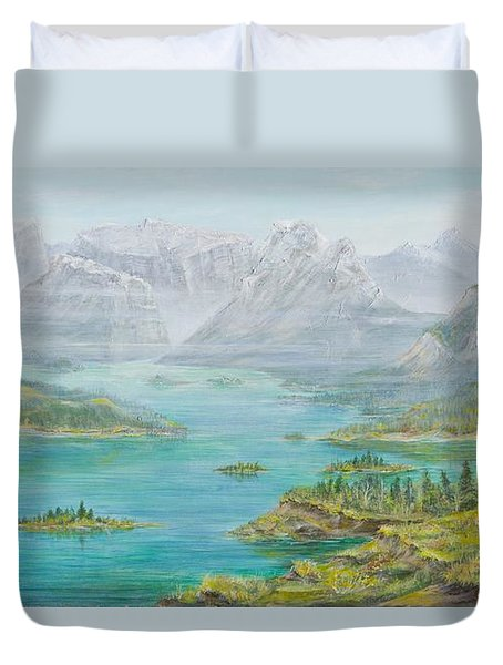 Duvet Cover featuring the painting Alberta Rocky Mountains by Cathy Long