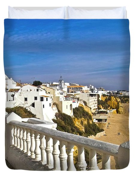 Albufeira Village By The Sea Duvet Cover by Heiko Koehrer-Wagner