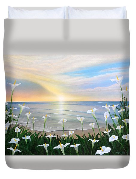 Alcatraces Duvet Cover by Angel Ortiz