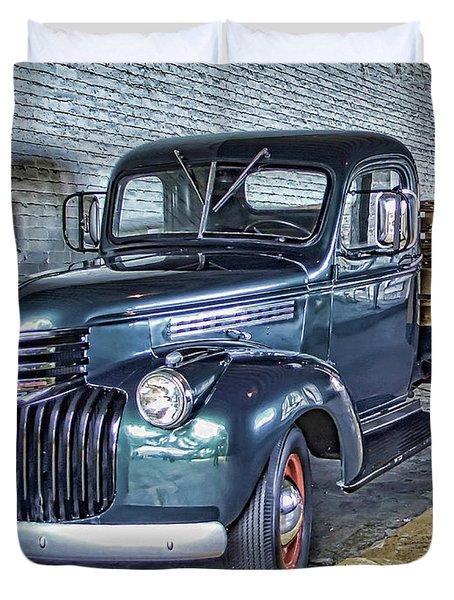 Alcatraz 1940 Chevy Utility Truck Duvet Cover by Daniel Hagerman