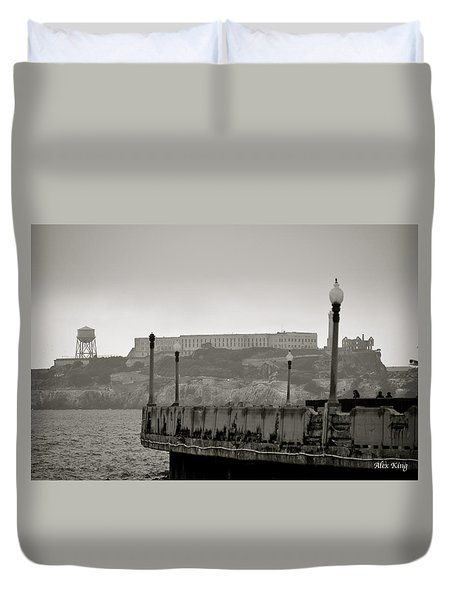 Duvet Cover featuring the photograph Alcatraz by Alex King