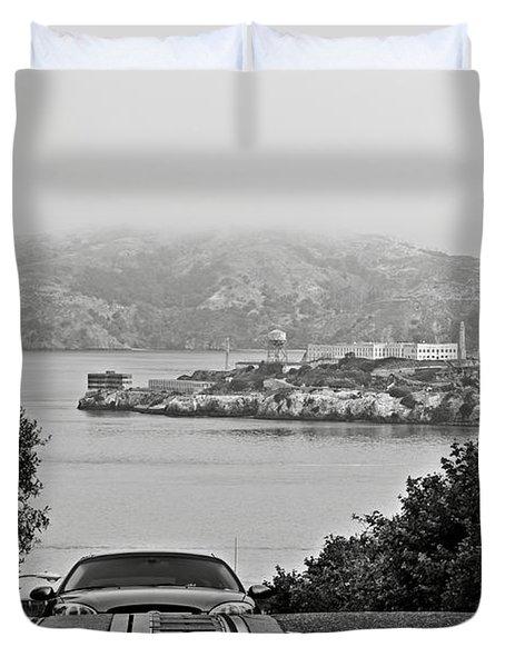 Alcatraz Island From Hyde Street In San Francisco Duvet Cover by RicardMN Photography