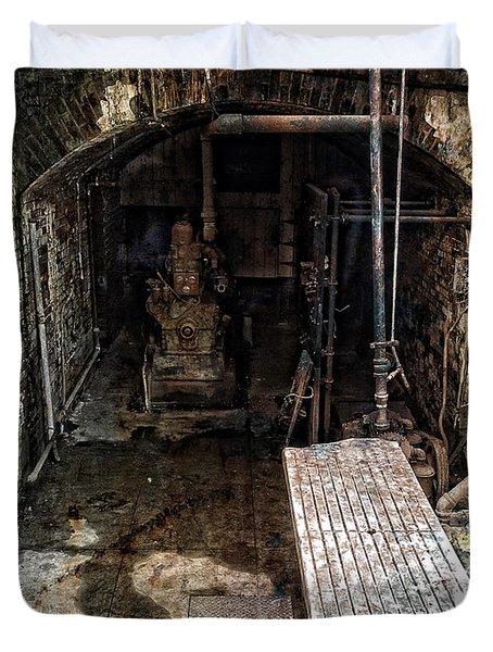 Alcatraz Island Morgue Duvet Cover by Daniel Hagerman