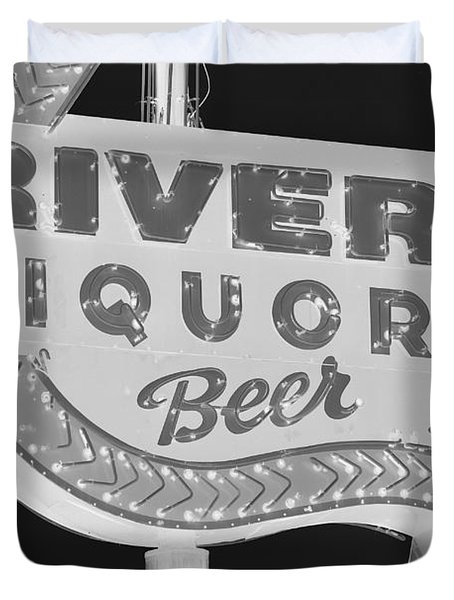 Duvet Cover featuring the photograph Alcohol Sign by Jerry Bunger