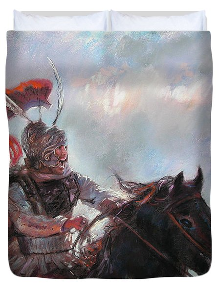 Duvet Cover featuring the drawing Alexander The Great  by Viola El