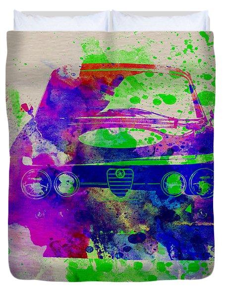 Alfa Romeo Front Watercolor 1 Duvet Cover by Naxart Studio