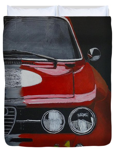 Duvet Cover featuring the painting Alfa Romeo Gtv  by Richard Le Page