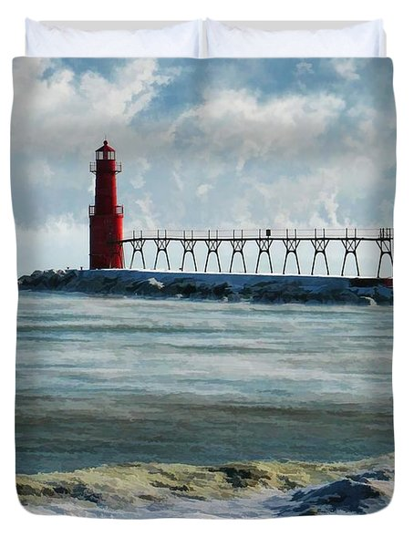 Algoma Pierhead Lighthouse Duvet Cover by Christopher Arndt