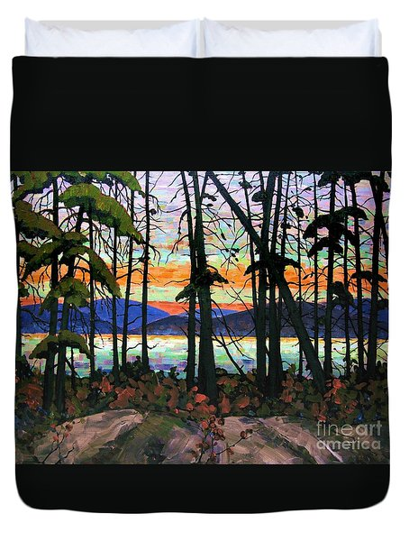Algoma Sunset Acrylic On Canvas Duvet Cover