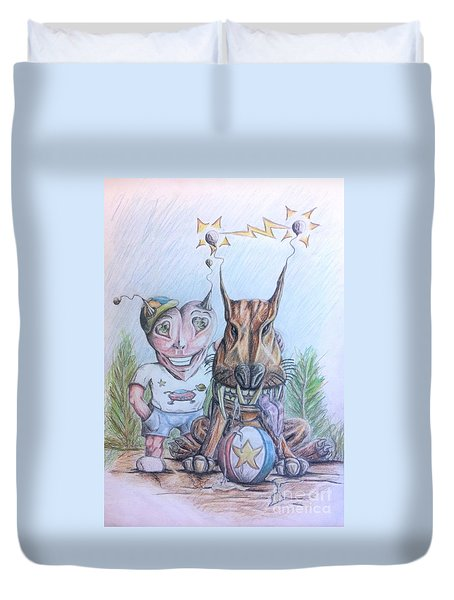 Alien Boy And His Best Friend Duvet Cover