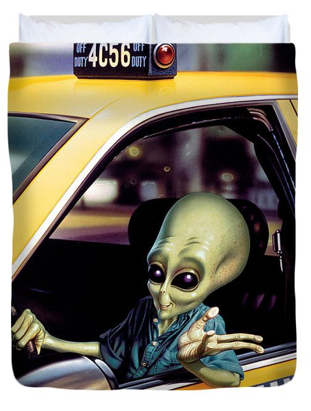 Alien Cab Duvet Cover by Steve Read