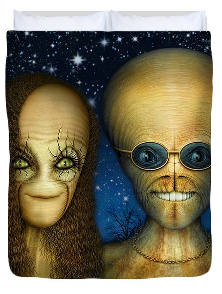 Alien Couple Duvet Cover