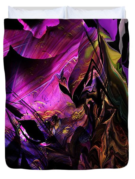 Duvet Cover featuring the digital art Alien Floral Fantasy by David Lane