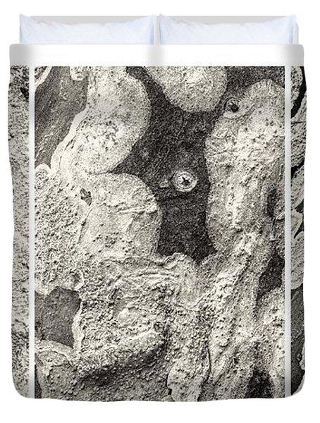 Alien Triptych Landscape Bw Duvet Cover