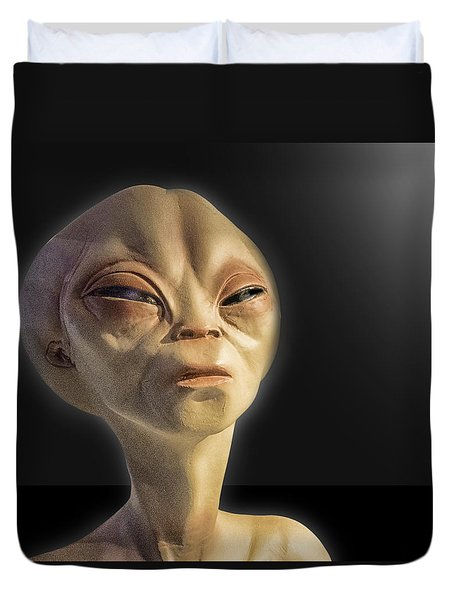 Alien Yearbook Photo Duvet Cover