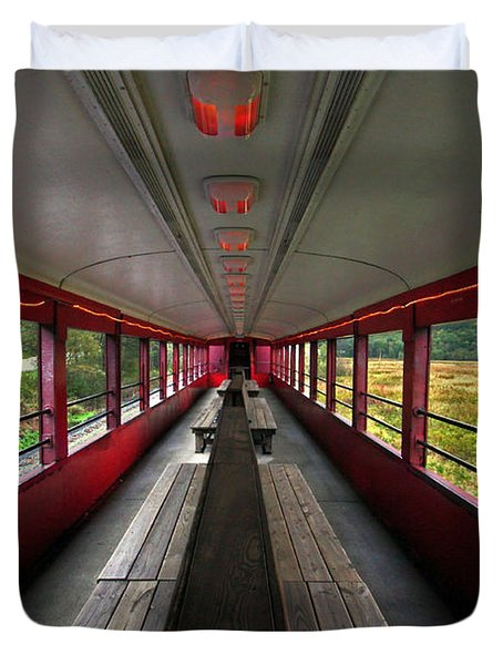 Duvet Cover featuring the photograph All Aboard Tioga Central Railroad by Suzanne Stout