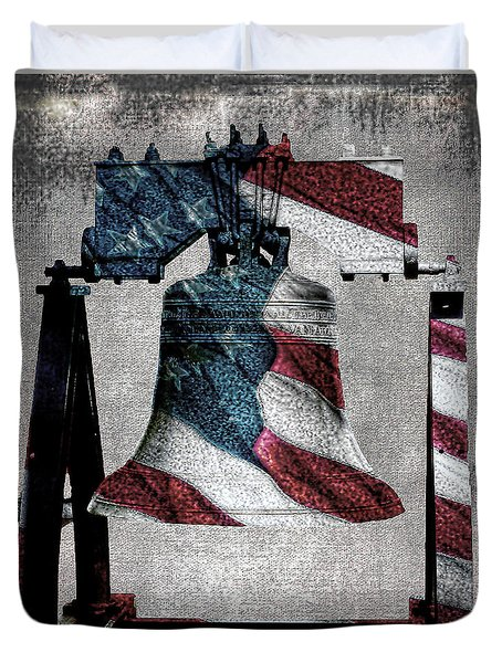 All American Liberty Bell Art_denim Duvet Cover by Lesa Fine