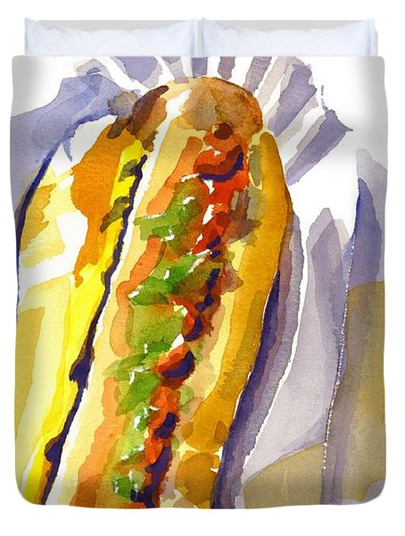All Beef Ballpark Hot Dog With The Works To Go In Broad Daylight Duvet Cover
