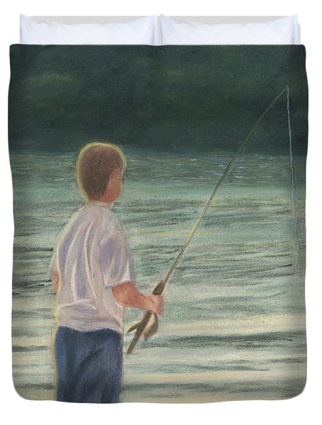 Duvet Cover featuring the painting All Day Long by Arlene Crafton