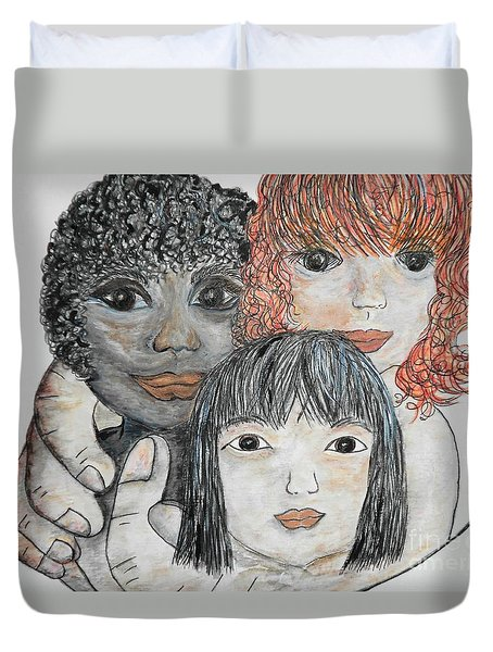 Duvet Cover featuring the painting All God's Children by Eloise Schneider