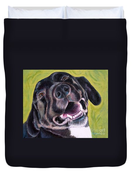All Smiles Black Dog Duvet Cover